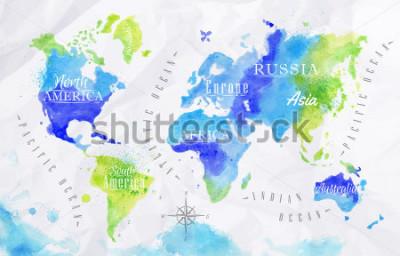 Obraz Mapa světa akvarelů v zelené a modré barvě na pozadí pokrčeného papíru