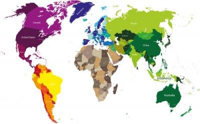 Obraz mapa světa barevné podle kontinentů