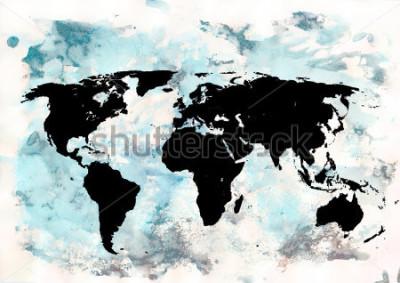 Obraz Mapa světa pozadí. Grunge pozadí. Abstractní emocionální umění. Moderní designový prvek.