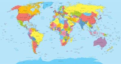 Obraz Mapa světa se zeměmi, země a názvy měst