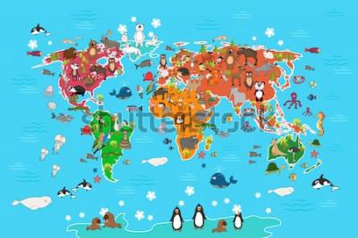 Obraz Mapa světa se zvířaty. Opice a Ježek, medvěd a klokan, zajíc vlčí panda a tučňák a papoušek. Zvířata svět mapa vektorové ilustrace v karikatuře stylu