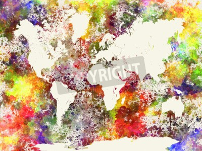Obraz mapa světa v akvarelu Abstraktní stříkance