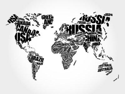 Obraz Mapa světa v typografie slovo mrak pojetí, názvy zemí