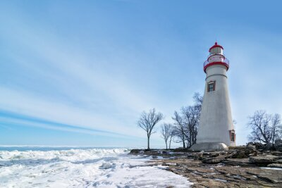 Obraz Marblehead Lighthouse zimní scény