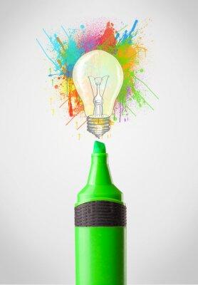 Obraz Marker close-up s nátěrem postříkání a žárovka