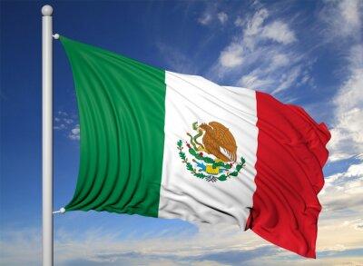 Obraz Mávání vlajkou Mexika na stožáru, na modrém pozadí oblohy.