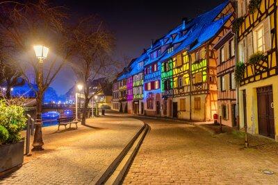Medieval houses illuminated on Christmas in Colmar, Alsace, France