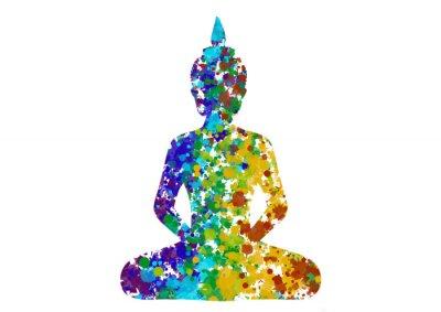 Obraz Meditující Buddha pozice v duhových barvách