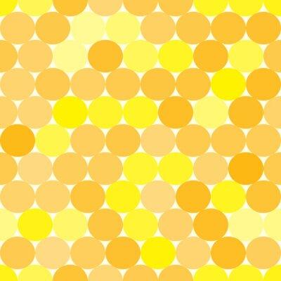 Obraz Měkké žluté a oranžové vektorové bezešvé vzor s kruhy. Monochromatický abstraktní geometrické pozadí.