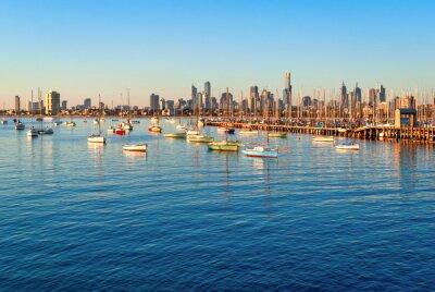 Obraz Melbourne panorama od St Kilda při západu slunce (Victoria, Austrálie)