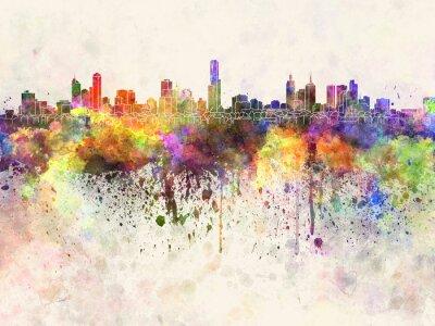Obraz Melbourne skyline v akvarelu pozadí