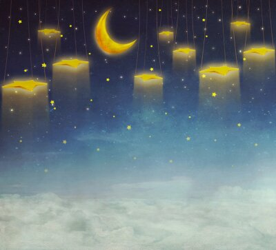 Obraz Měsíc a hvězdy na laně na noční obloze