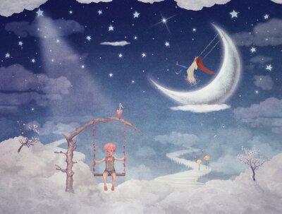 Obraz Město dětí na fantastické mraky na obloze