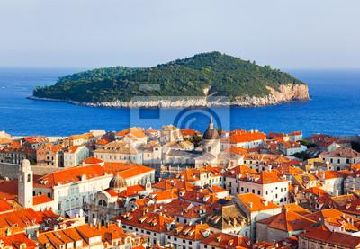 Město Dubrovník a ostrov v Chorvatsku