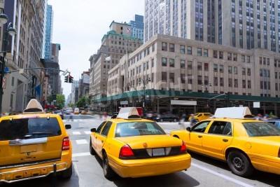 Obraz Město New York Manhattan Fifth Avenue 5th Av žluté taxi cab USA
