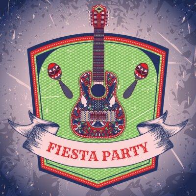 Obraz Mexické Fiesta Party štítek s maracas a mexickou kytaru .Hand tažené vektorové ilustrace plakát s grunge pozadí. Leták nebo blahopřání šablony