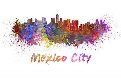 Obraz Mexico City Skyline v akvarelu