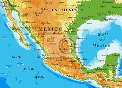 Mexiko-reliéf mapa