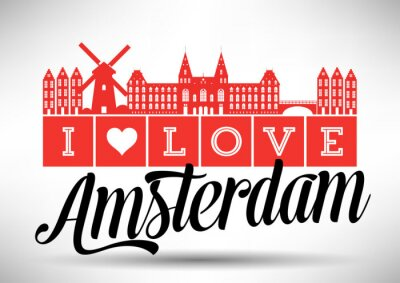 Obraz Miluji Amsterdam Skyline design