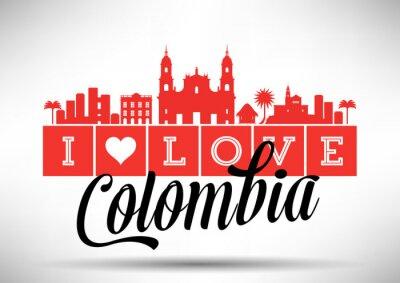 Obraz Miluji Kolumbie Skyline design