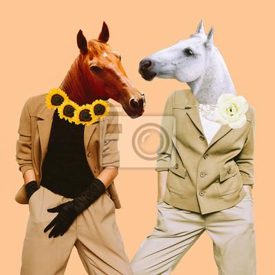 Minimální současné umění koláže. Styloví koně. Vintage koncept
