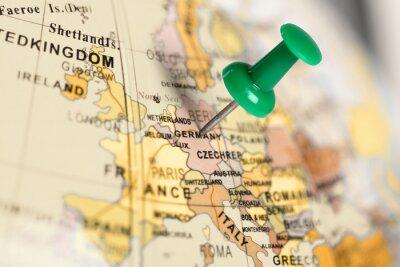 Obraz Místo Germany. Zelený pin na mapě.
