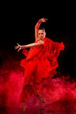 Obraz Mladá žena Latino tanec na tmavém zakouřeném pozadí