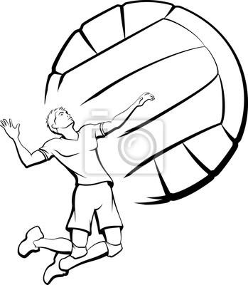 Obraz Mladý muž se chystá špice volejbal se stylizovanou volejbal jako pozadí.