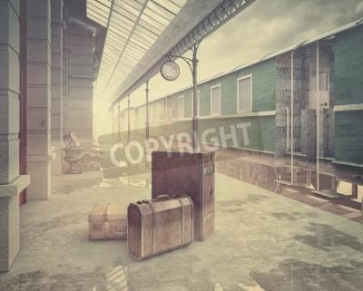 Obraz mlha na retro vlakové nádraží .Vintage barva ve stylu 3D koncept