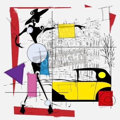 Obraz móda dívka kubismus ilustrační moderního