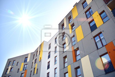 Obraz Modern apartment building detail, glass surface with sunlight