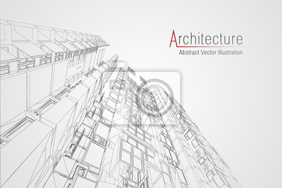 Obraz Modern architecture wireframe. Concept of urban wireframe. Wireframe building illustration of architecture CAD drawing.