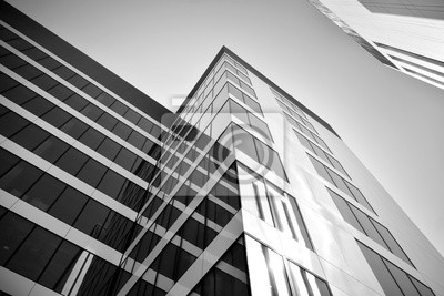 Obraz Modern city office building exterior. Black and white.