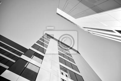 Obraz Modern city office building exterior. Black and white.