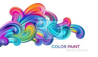 Obraz Modern colorful flow poster. Wave Liquid shape color paint. Art design for your design project. Vector illustration