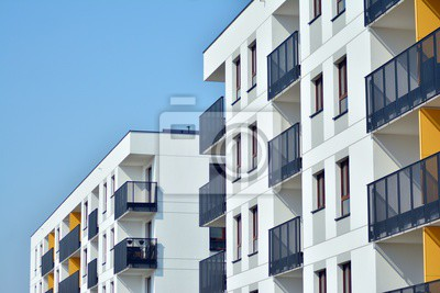 Obraz Modern european complex of apartment buildings. Fragment of a modern residential apartment building