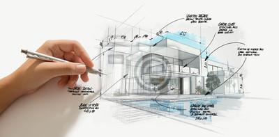 Obraz Modern high end architecture project evolution
