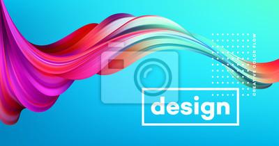 Obraz Moderní barevný plakát. Wave Tvar kapaliny v modrém barevném pozadí. Design výtvarného návrhu pro váš projekt. Vektorové ilustrace