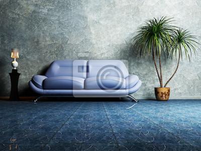 Moderní design interiéru obývací pokoj s modrou pohovkou