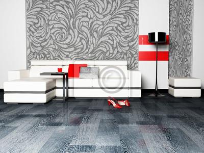 Moderní design interiéru obývací pokoj s pěkným pohovkou a fl