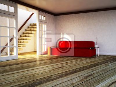 moderní pohovka v místnosti, 3d