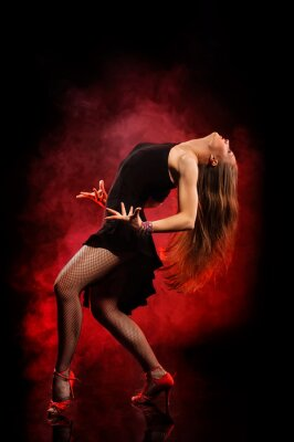 Obraz moderní styl tanečnice na tmavém pozadí