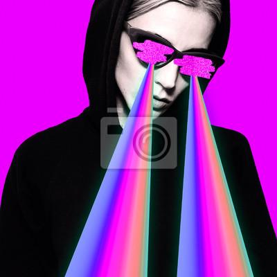 Módní bederní dívka s duhové lasery z očí. Minimální umění koláže