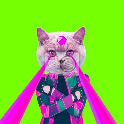 Módní bederní kočka s lasery z očí. Zvířecí zábava koláž umění