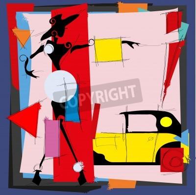 Obraz Módní ilustrace ve stylu kubismu