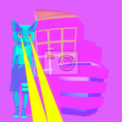 Módní městská kočka s lasery z očí. Minimální koláž vtipné umění