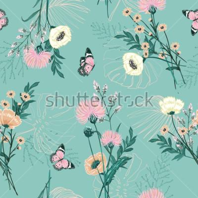 Obraz Módní pastel mnoha druhů zahradní květiny, rostliny, botanické, motýl, bezešvé pattern vektorový design pro módu, textilie, tapety a všechny výtisky na barvu pozadí zelené máty  t