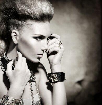Obraz Módní Rocker Styl Model dívka portrét. Černobílý
