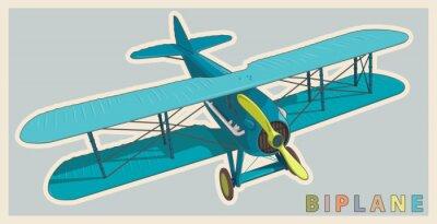 Obraz Modrá dvojplošník v ročníku a barevnou stylizací. Model letadla vrtule se dvěma křídly. Retro letoun určený pro tisk plakátů. Krásně a realisticky tažené vektorové létání dvojplošník.