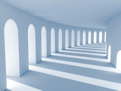 Obraz Modrá kolonáda s hlubokými stíny. Ilustrace